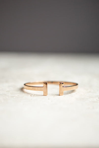 Minimalist Rose Gold T Bar Cuff Bracelet - Wynter Bloom