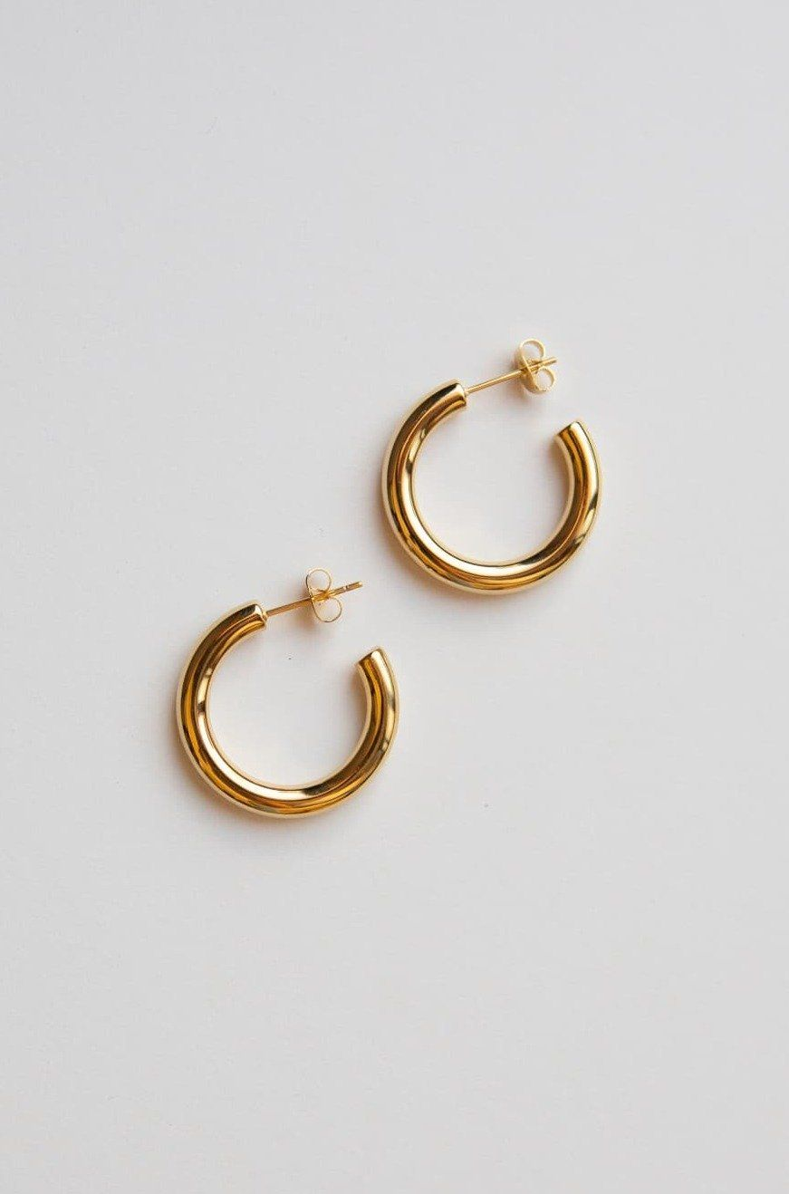 Gold Medium Thick Hoop Earrings - Wynter Bloom