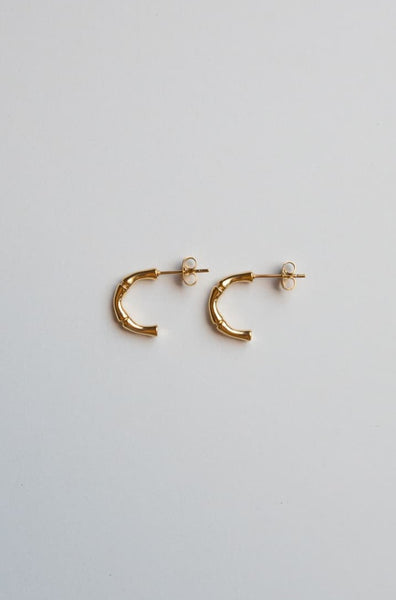Tiny Gold Bamboo Half Hoop Earrings