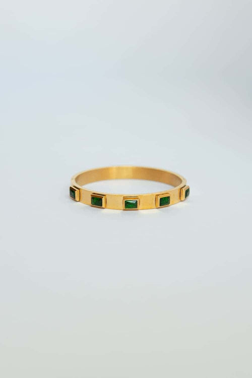 Emerald Green CZ Bezel Set Bracelet