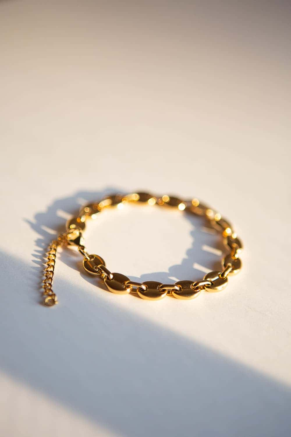 8mm Gold Puff Chain Bracelet