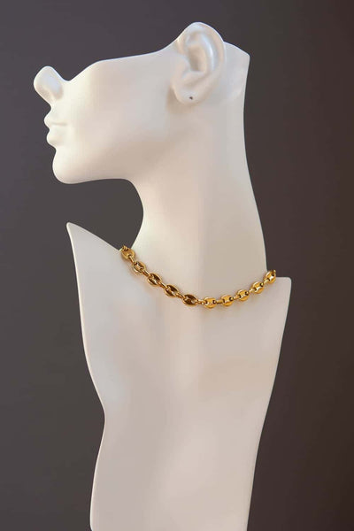 8mm Gold Puff Chain Necklace