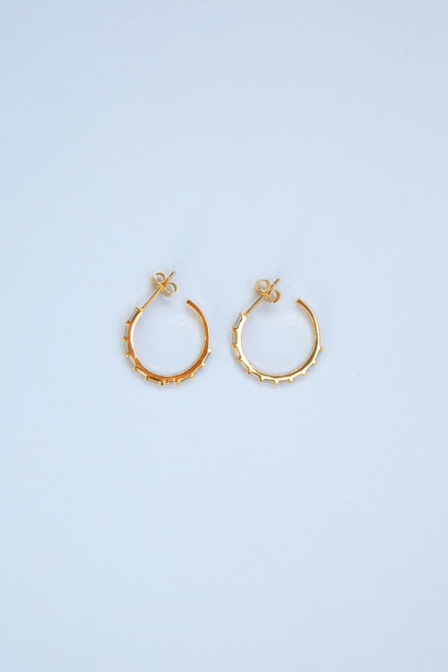 925 Sterling Silver Medium Gold CZ Baguette Pavé Hoops