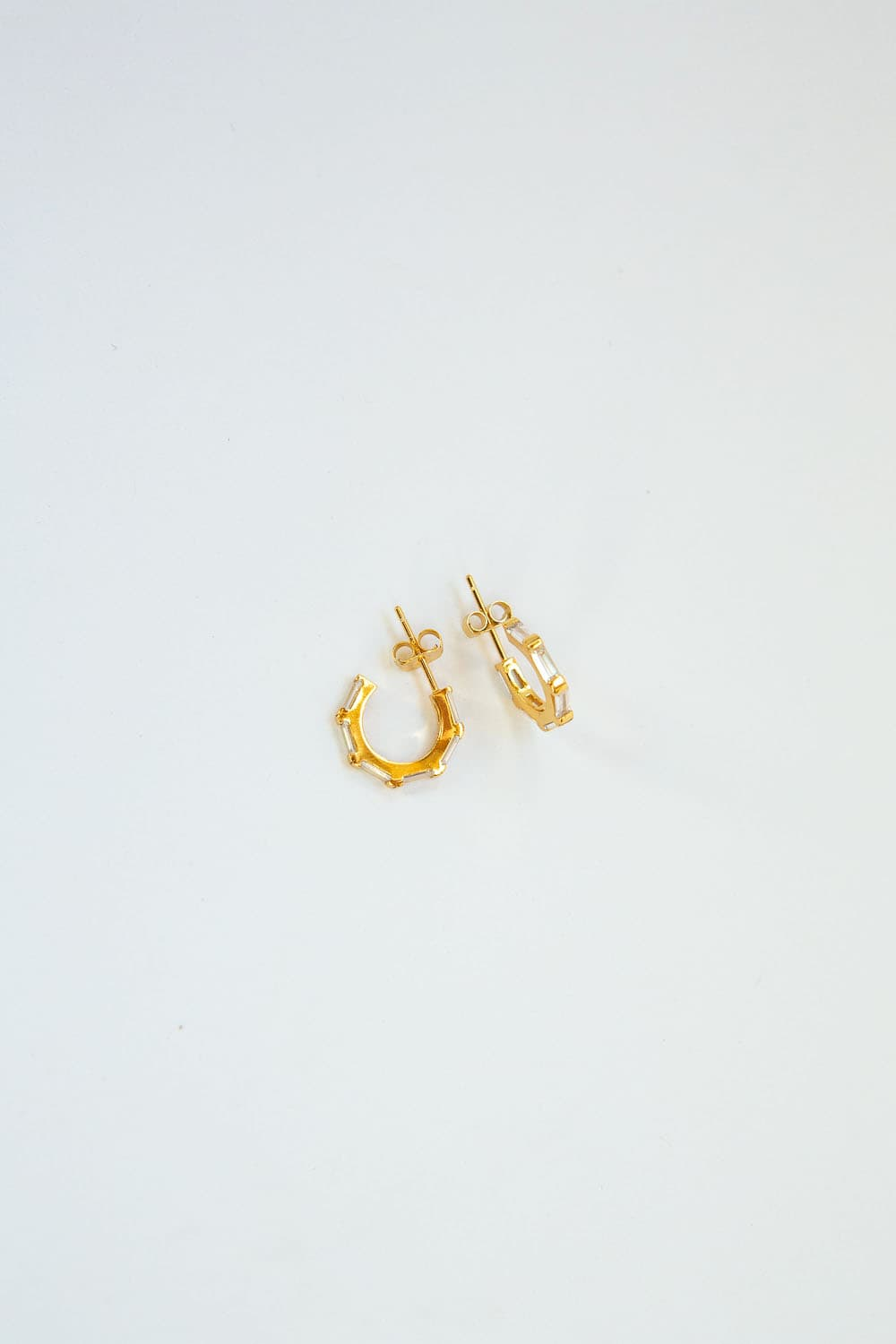 925 Sterling Silver Small Gold CZ Baguette Pavé Hoops