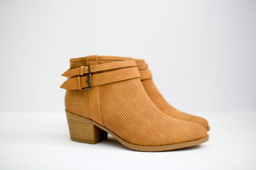 Tan Perforated Booties with Buckles - Side View