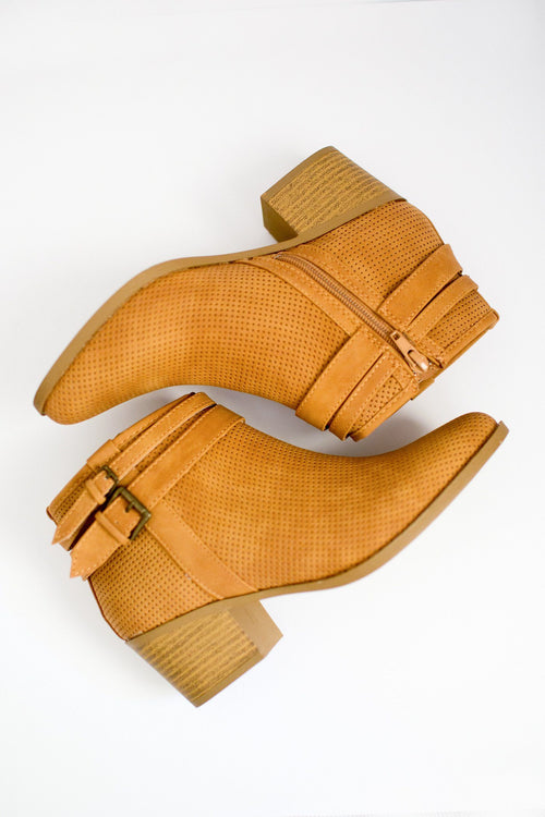 Tan Perforated Booties with Buckles - Top View