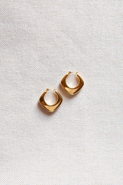 Thick Gold Rounded Rhombus Hoop Earrings