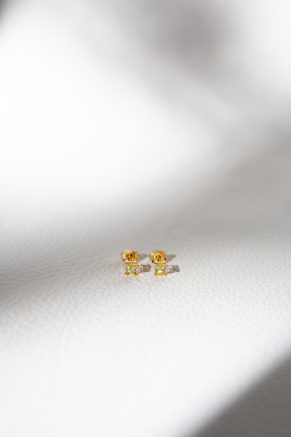 925 Sterling Silver Dainty Apple Green Baguette Diamond Stud Earrings