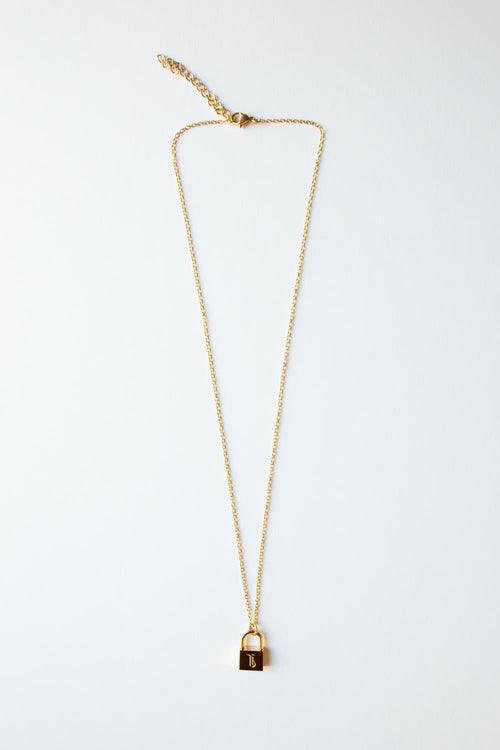 Gold Old English Initial Padlock Necklace