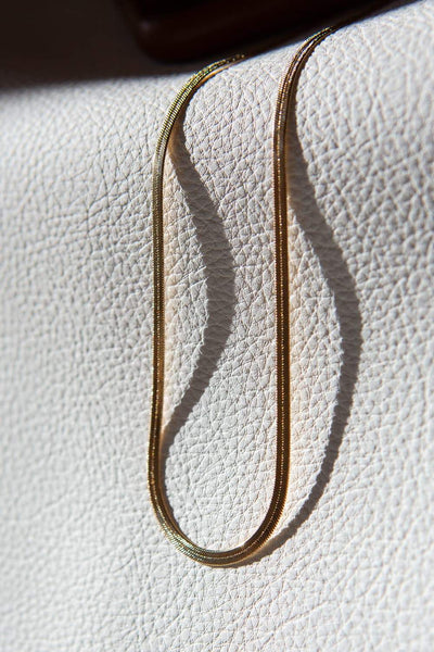 3mm 18k Gold Filled Herringbone Chain Necklace 15.75""