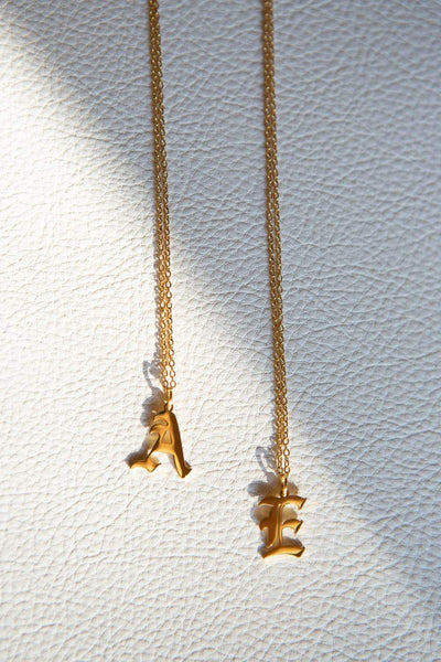 Gold Old English Initial Necklace