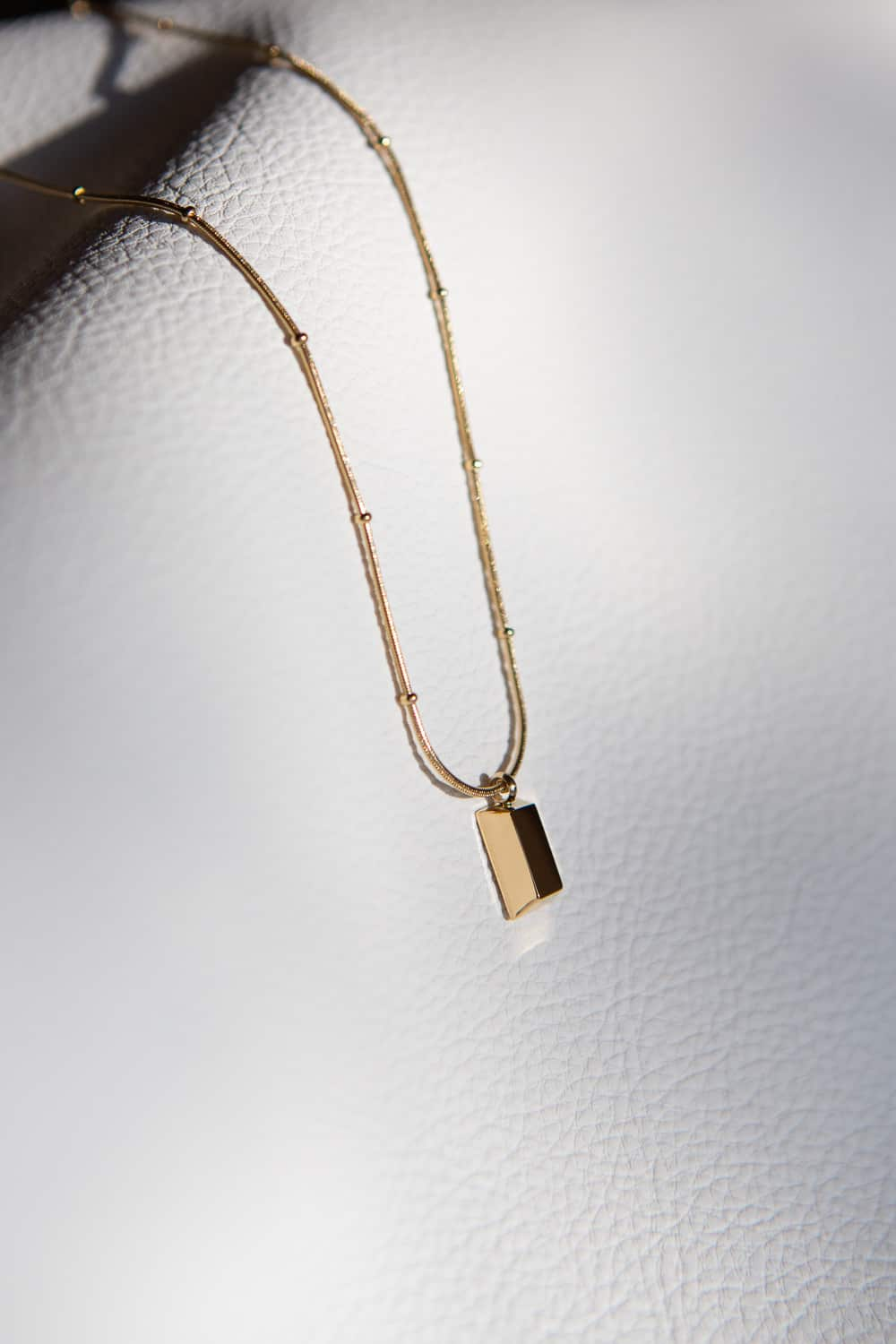 Gold Brick Bar Necklace