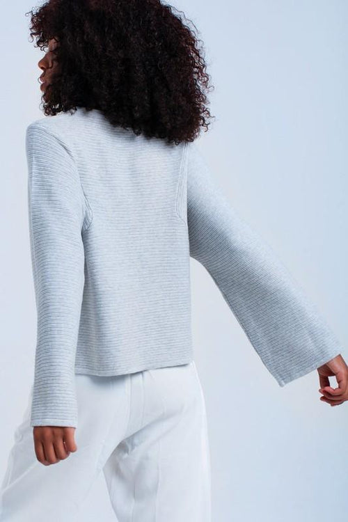 Gray Ribbed Sweater - Back View