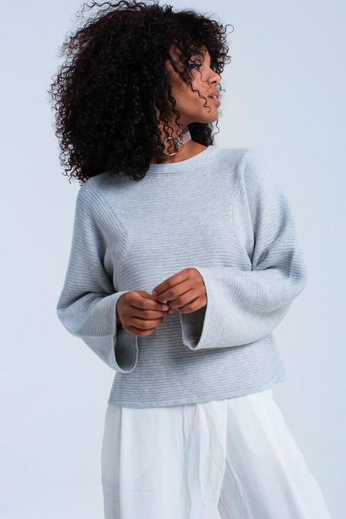 Gray Ribbed Sweater with Loose Fit Sleeves