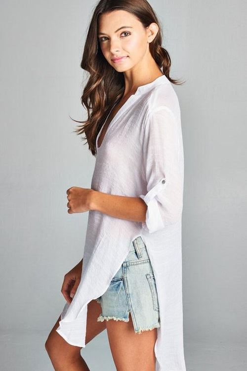 Tunic Shirt with V Split Neck and Roll-Tab Sleeves Side Front View
