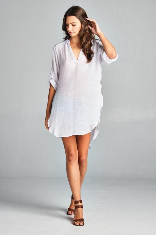 Tunic Shirt with V Split Neck and Roll-Tab Sleeves Front View
