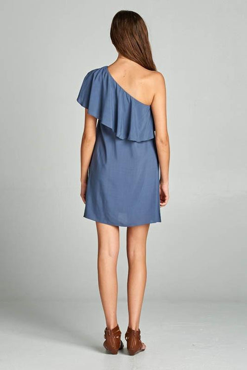 Asymmetrical Off Shoulder Dress with Ruffle Neckline - Back View
