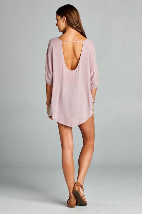 Strappy V Neck Top with Low Scoop Back - Back View