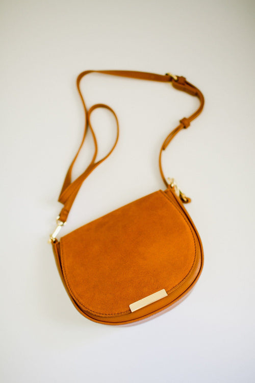 Crossbody Bag with Faux Suede Flap Front Flatlay