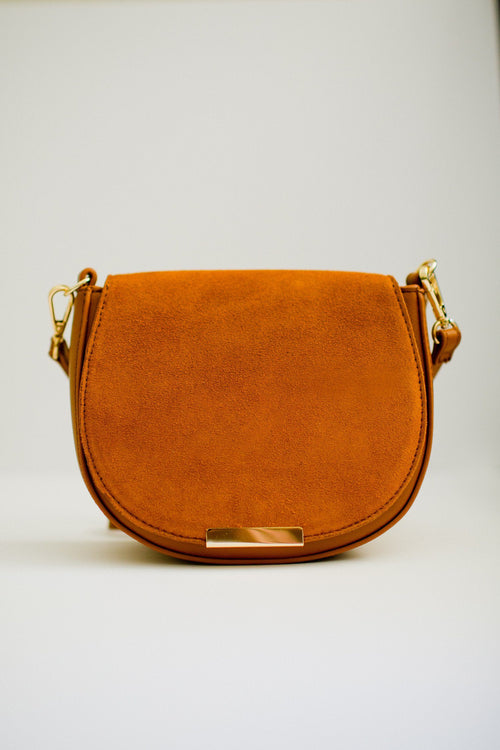 Crossbody Bag with Faux Suede Flap Front View
