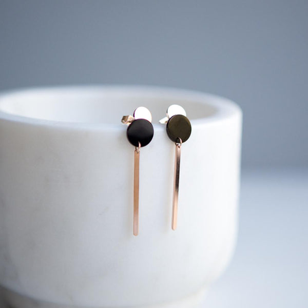 Rose Gold Geometric Disc Bar Drop Earrings