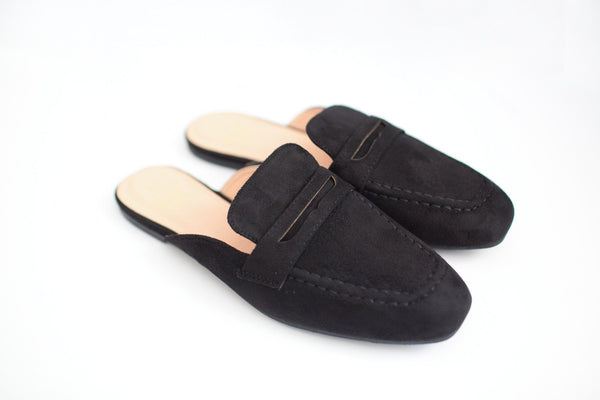 Black Faux Suede Loafer Mules - Pair View