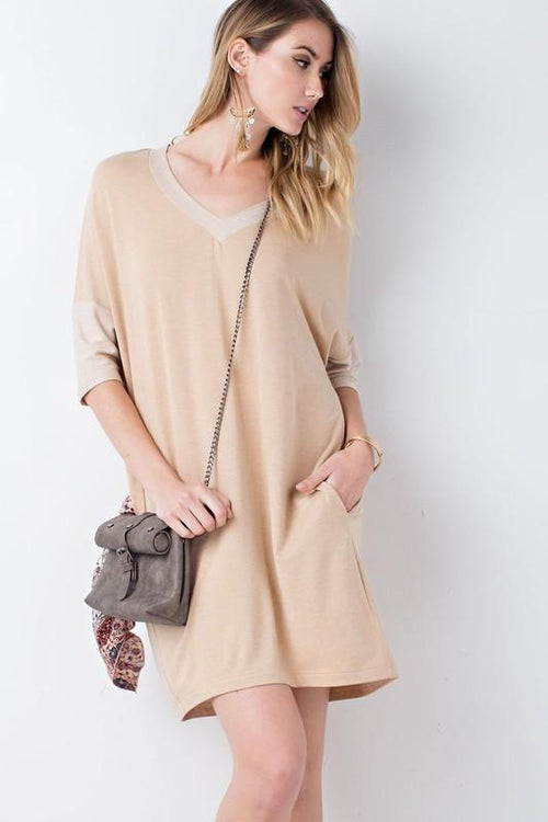 Loose Fit V Neck Tunic Dress Front View