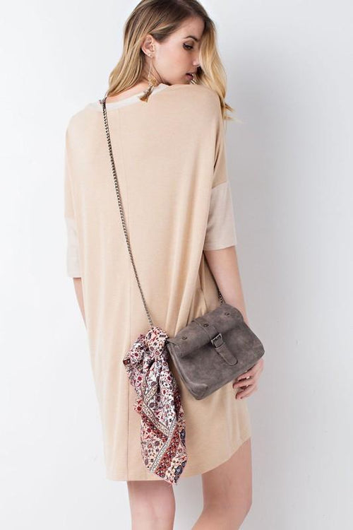 Loose Fit V Neck Tunic Dress Back View