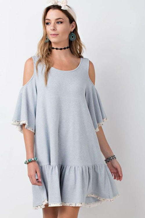 Cold Shoulder Baby Doll Tunic Dress Front View
