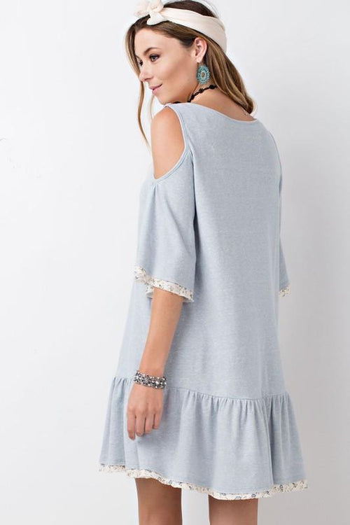 Cold Shoulder Baby Doll Tunic Dress Side View