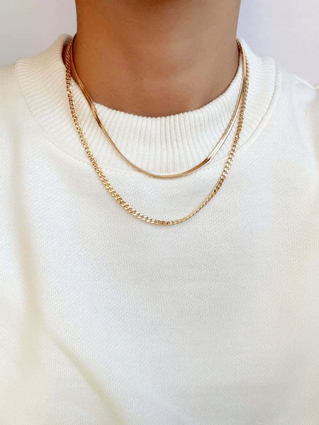 3mm Gold Filled Herringbone Chain Necklace