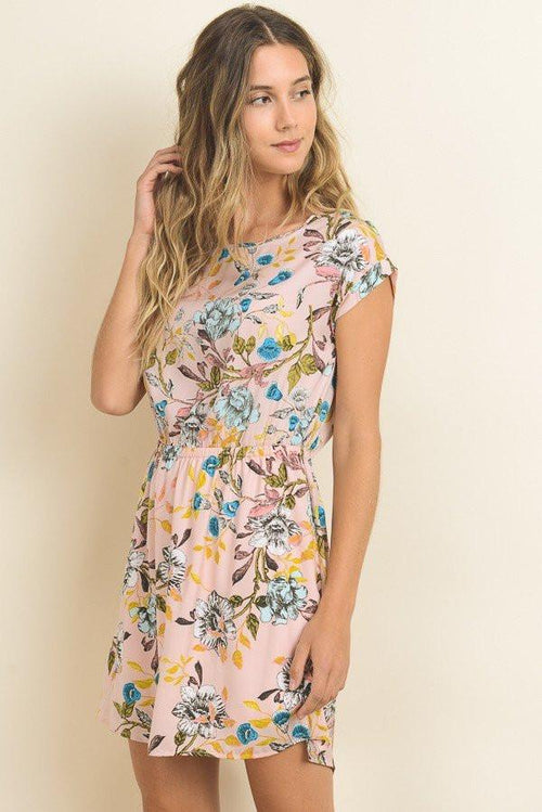 Floral Print Shift Dress - Front View