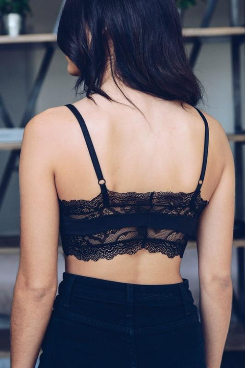 Scoop Neck Lace Bralette Back View