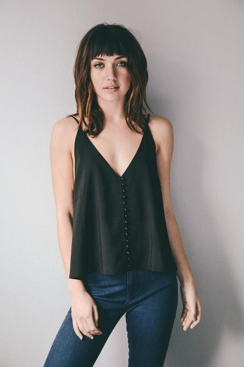 Button Up Camisole with Open Back Front