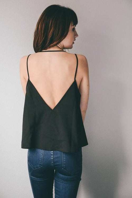 Button Up Camisole with Open Back - Back View