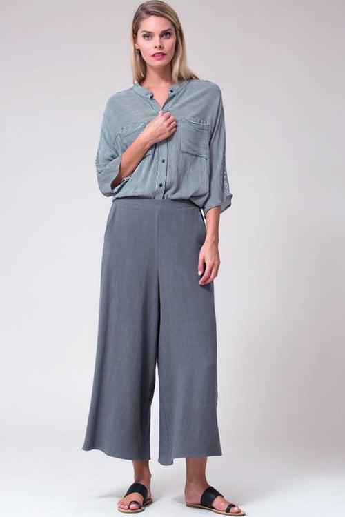 Charcoal Linen Blend Culottes Front View