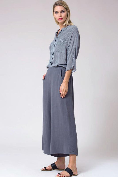 Charcoal Linen Blend Culottes Side Front View