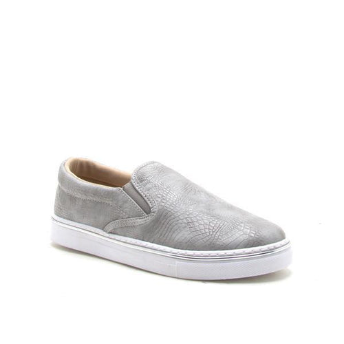 Snake Skin Slip On Sneakers - Front Detail