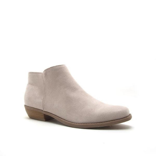 Light Grey Suede Ankle Bootie - Side View