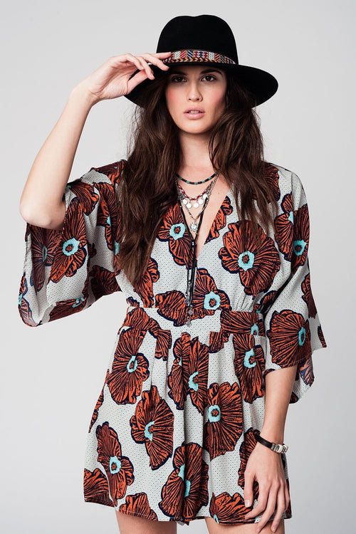Floral Print Romper with Flared Sleeves - Front View