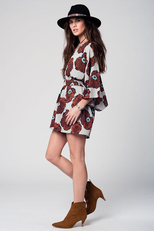 Floral Print Romper with Flared Sleeves - Full Front View