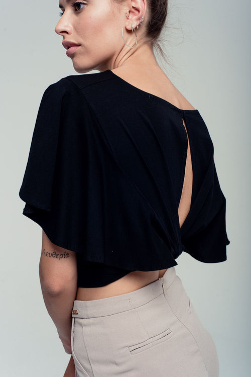 Black Crop Top with Draped Sleeves and Open Back - Side Back