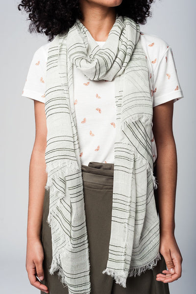 White T-Shirt with Orange Wedge Print - Front with Scarf