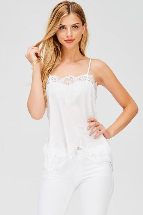 White Camisole with Lace Detail Front Close