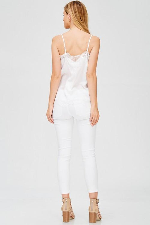 White Camisole with Lace Detail Back