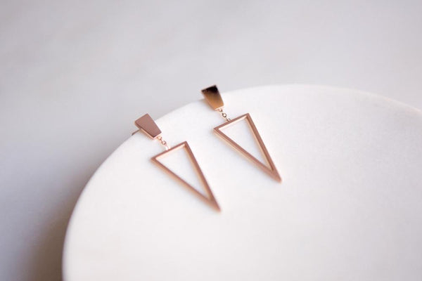 Rose Gold Geometric Triangle Stainless Steel Drop Earrings