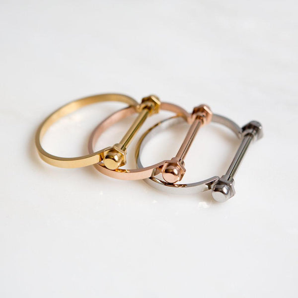 Screw Bar Cuff Bracelet (Rose Gold)