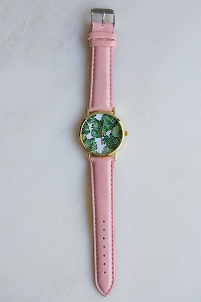 Monstera Leaf Watch (Pink)