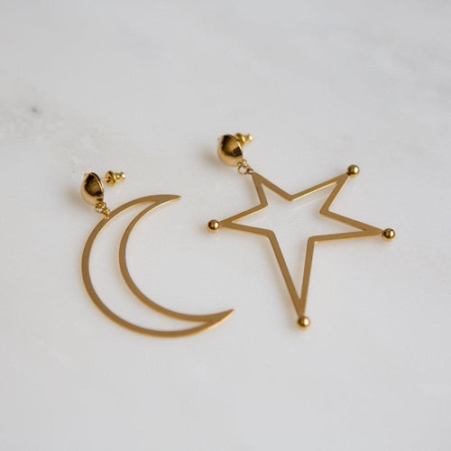 Oversized Star Moon Mismatched Statement Earrings