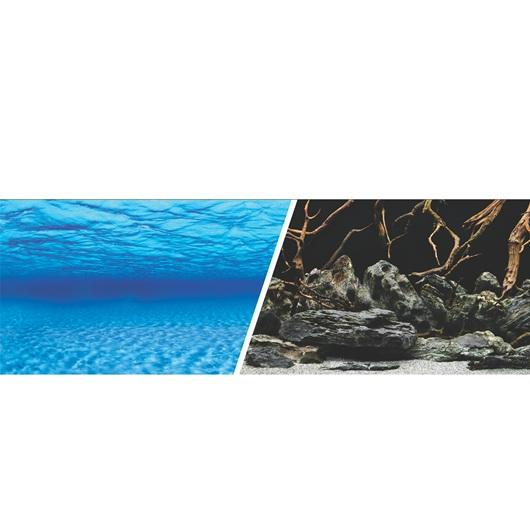 Marina Double Sided Aquarium Background, Sea Scrape/Natural Mystic, 60cm high per 30cm Long